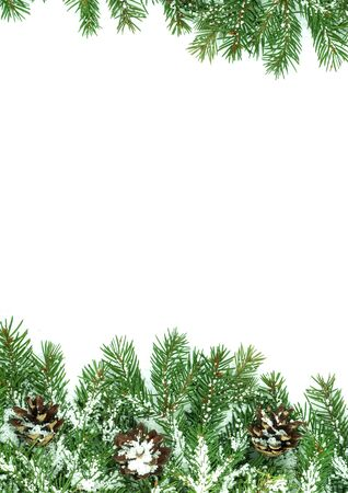 Christmas framework with snow isolated on white background Stock Photo - 11003995