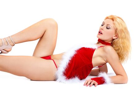 Young sexy Santa woman isolated a on white background photo