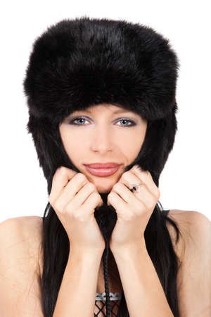 Portrait of a beautiful lady in fur cap isolated on white Stock Photo - 11003997