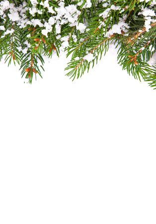 Christmas framework with snow isolated on white background Stock Photo - 11118592