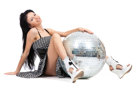 Party dancer with disco ball isolated on white background photo