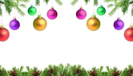 Rami con un giocattolo di Natale su uno sfondo bianco