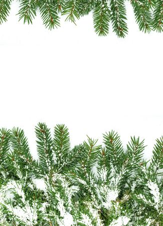 Christmas framework with snow isolated on white background Stock Photo - 12344523