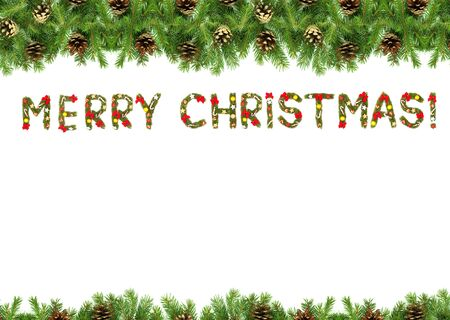 Christmas card with a christmas ornament isolated on white background photo