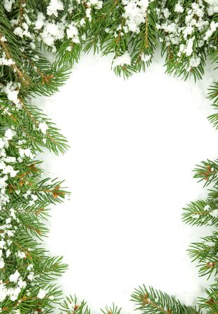 Christmas framework with snow isolated on white background Stock Photo - 12344518