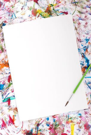 Colorful abstract watercolor background splash with a blank paper Stock Photo - 12386877