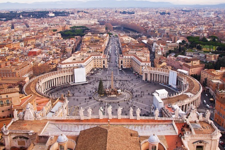 Rome, Italy. Famous Saint Peters Square in Vatican and aerial view of the city. photo