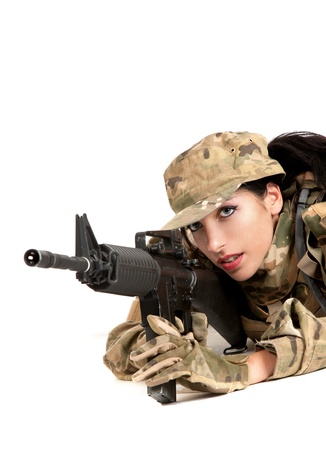 Beautiful army girl with rifle isolated on white Stock Photo - 12386898