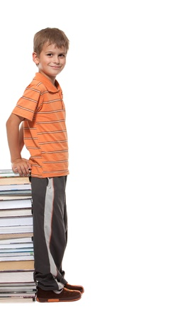 Boy and books isolated on a white background Stock Photo - 12386957