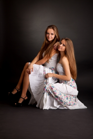 sisters sexy: Two beautiful girls twins, isolated on the grey background