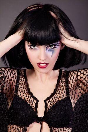 Beautiful fantasy eye face-art close-up portrait of a beautiful girl Stock Photo - 13987245
