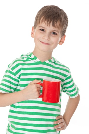 red cup: Boy holding a red cup isolated on white
