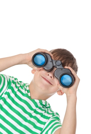 ransack: Boy holding binoculars isolated on a white