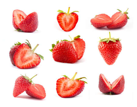 The fresh cut strawberrie on a clear white background Stock Photo - 14040356