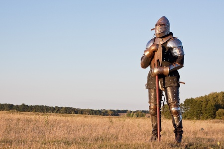 Medieval knight in the field with an axe Stock Photo - 14121649