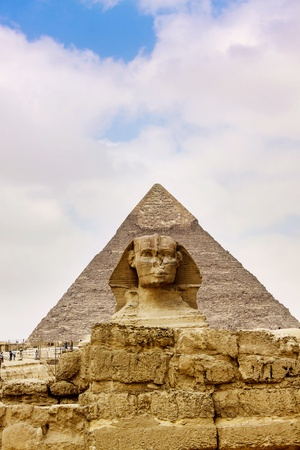 Sphinx and the Great Pyramid in the Egypt Stock Photo - 14213857