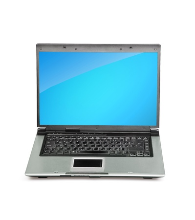 powerbook: Open laptop showing keyboard and screen  isolated on white background