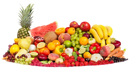 Huge group of fresh vegetables and fruits isolated on a white background. Shot in a studio Stock Photo - 14289186