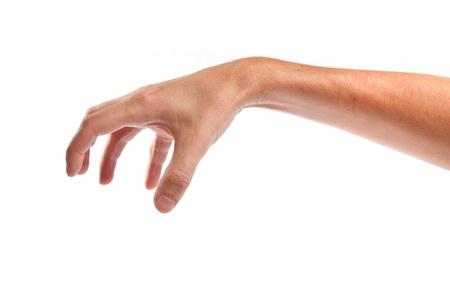atrapar: Bien en forma de mano masculina para llegar a algo aislado en un fondo blanco
