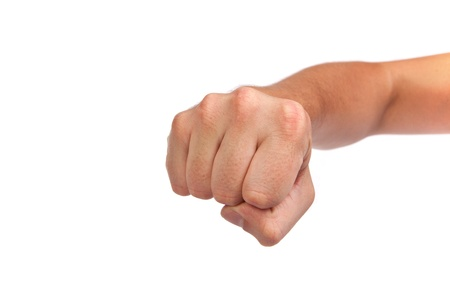 Hand with clenched a fist, isolated on a white background Stock Photo - 14472240