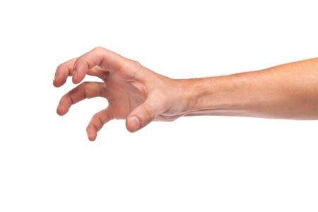 No tvaru mužské ruky dosáhnout na něco, izolovaných na bílém pozadí
