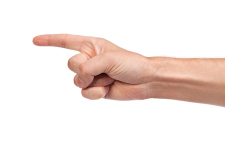 Man index finger isoalted on a white background photo