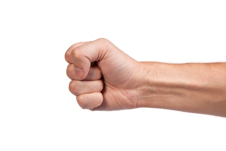 fist: Hand with clenched a fist, isolated on a white background
