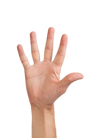 Male hand gesture number five closeup isolated on a white background Stock Photo - 14472268