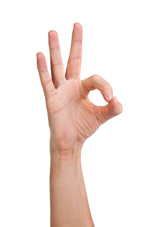 Hand  is showing OK sign isolated on a white background photo