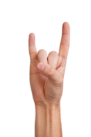 insult: A mans hand giving the Rock and Roll sign isolated on a white background Stock Photo