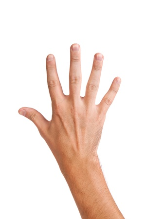 Male hand gesture number five closeup isolated on a white background Stock Photo - 14472295