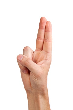 Hand with two fingers up in the peace or victory symbol. Also the sign for the letter V in sign language. Isolated on white. Stock Photo - 14472308
