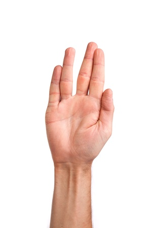 Male palm hand vulcan gesture, isolated on a white background Stock Photo - 14472255