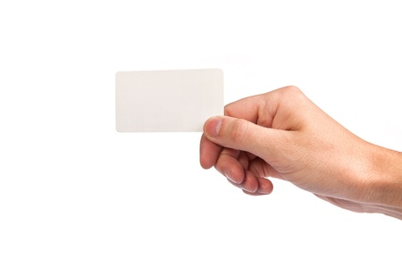 Businessman's hand holding blank paper business card, closeup isolated on white background Stock Photo - 14577049