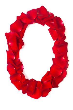 Alphabet letter O made from red petals rose isolated on a white background photo