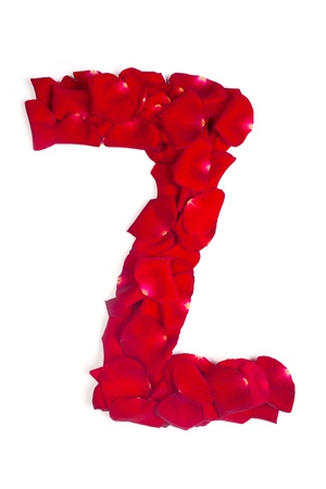 Alphabet letter Z made from red petals rose isolated on a white background photo