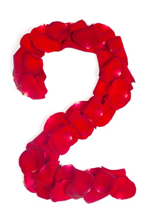 Alphabet number 2 made from red petals rose isolated on a white background photo