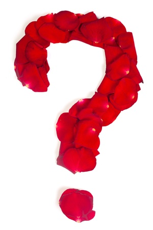 Question sign made from red petals rose isolated on a white background Stock Photo - 14678495