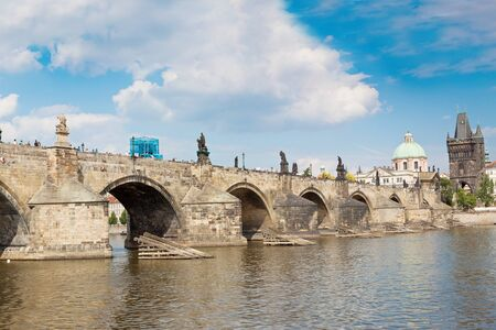 Panorama. Karlov or Charles bridge in Prague in summer photo