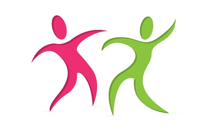 social movement: Elegant Dancing People symbol Illustration