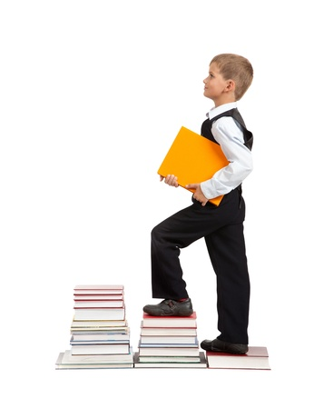 Education success graph - successful schoolboy isolated on white background. Back to school Stock Photo - 14736710