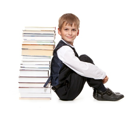 Boy and books isolated on a white background. Back to school Stock Photo - 14736708
