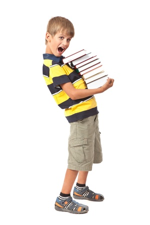 School boy is holding books isolated on white background. Back to school Stock Photo - 14736711
