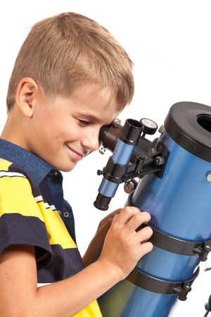 Child Looking Into Telescope Star Gazing Little Boy isolated on a white background Stock Photo - 14736720