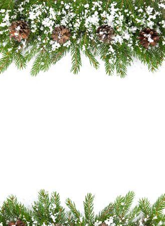 motivos navideños: Navidad marco con la nieve aislada en el fondo blanco