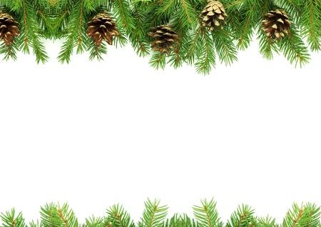 sapin: Noël vert cadre isolé sur fond blanc Banque d'images