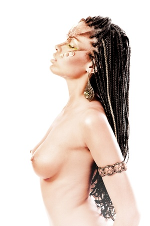 naked african: Portrait of a beautiful nude young african american woman with dreadlocks hair  on a white background