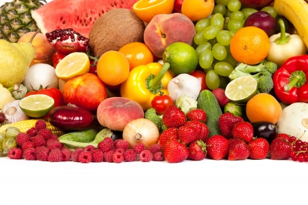 Huge group of fresh vegetables and fruits isolated on a white background. Shot in a studio Stock Photo - 15278643