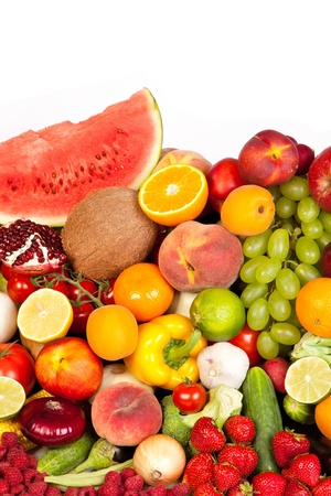 Huge group of fresh vegetables and fruits isolated on a white background. Shot in a studio Stock Photo - 15278648