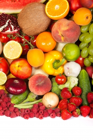 Huge group of fresh vegetables and fruits isolated on a white background. Shot in a studio Stock Photo - 15278685